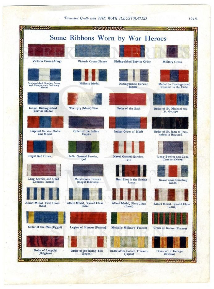 1918 WW1 COLOUR PRINT Military Naval Medal Ribbons BRITISH India FRANCE Japan ETC (183